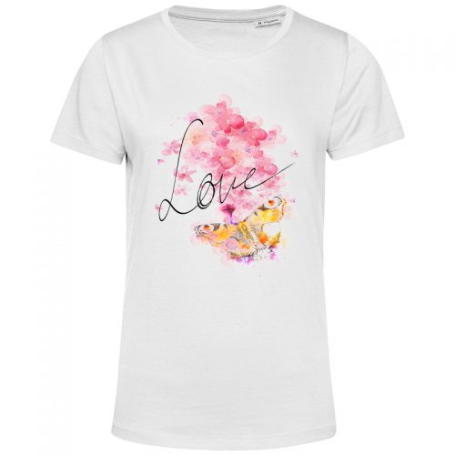 organic t shirt weiss love butterfly